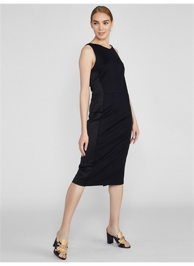 Vekem-Limited Edition Sırt Dekolteli Pamuk / Floş Elbise Siyah